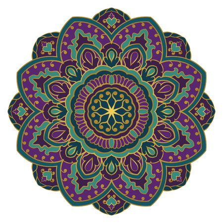 Colorful mandala on a white background. Eastern ethnic ornament. Design element.