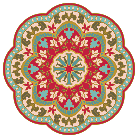 Colorful mandala with flowers on white background. Oriental ethnic ornament. Design element.