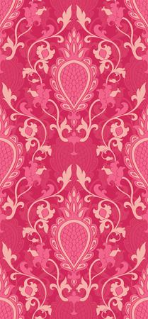 ダマスク模様。ピンクの繊細な飾り。壁紙、テキスタイル、ショール、カーペットのエレガントなテンプレートです。