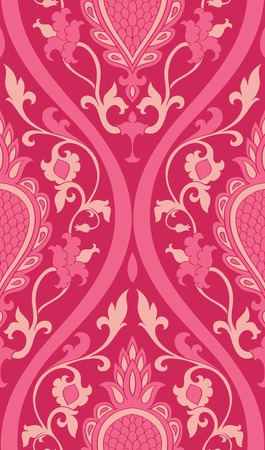 Pattern with damask. Pink filigree ornament. Elegant template for wallpaper, textile, shawl, carpet. Illustration