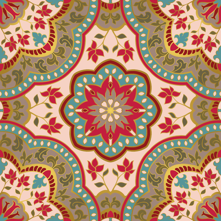 oriental rug: Colorful filigree pattern. Vector eastern background. Oriental ethnic ornament. Template for textile, carpet, shawl.