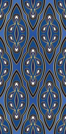 simple frame: Oriental blue ornament. Template for carpet, textile, wallpaper and any surface. Illustration