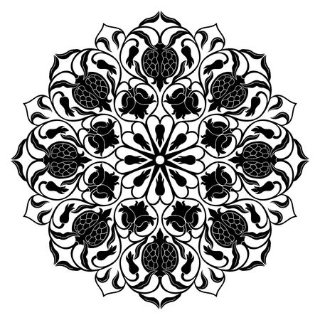 Filigree mandala with floral elements on white background. Oriental ethnic ornament with pomegranate. Black design element. Çizim