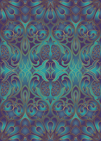 baroque pearl: Ornamental floral pattern. Iridescent background with pomegranates. Template for textile, carpet, wallpaper, shawl.