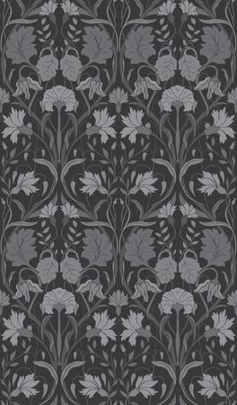 Gray floral pattern. Seamless filigree ornament. Monochrome ornament for wallpaper, textile, carpet.