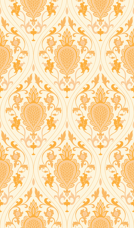 ダマスク模様。黄色の繊細な飾り。壁紙、テキスタイル、ショール、カーペットのエレガントなテンプレートです。  イラスト・ベクター素材