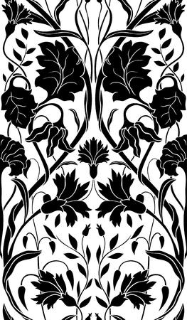 白地に黒の花柄。シームレスな細工の髪飾り。壁紙、テキスタイル、カーペットの様式化されたテンプレートです。