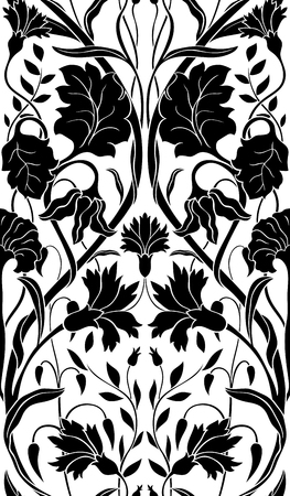 Black floral pattern on a white background. Seamless filigree ornament. Stylized template for wallpaper, textile, carpet. Illustration
