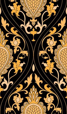 ダマスク模様。黒の背景に黄色の繊細な飾り。壁紙、テキスタイル、ショール、カーペットのエレガントなテンプレートです。