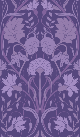 Purple floral pattern. Seamless filigree ornament. Ornament for wallpaper, textile, carpet.