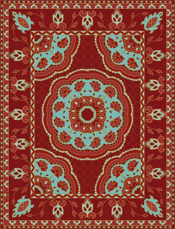 東洋の抽象的な髪飾り。カラフルなテンプレートにカーペット、織物。赤色のフレームのパターン。