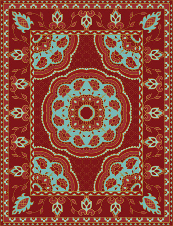 Oriental abstract ornament. Colorful template for carpet, textile. Red pattern with frame. Illustration