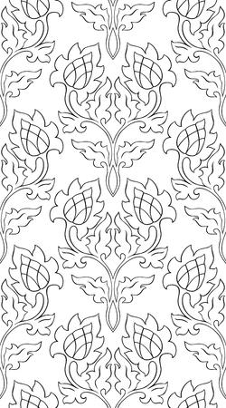 抽象的な花柄です。シームレスな髪飾り。壁紙、テキスタイル、ショール、カーペット、任意の表面の黒と白のテンプレートです。