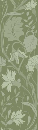 Green floral pattern. Ornament for wallpaper, textile, carpet. Illustration