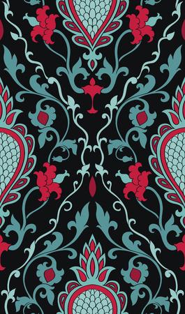 ダマスク模様。バックとターコイズ ブルーの繊細な飾り。壁紙、テキスタイル、ショール、カーペットのエレガントなテンプレートです。  イラスト・ベクター素材