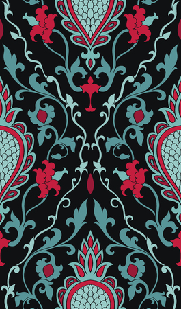 Pattern with damask. Back and turquoise filigree ornament. Elegant template for wallpaper, textile, shawl, carpet.