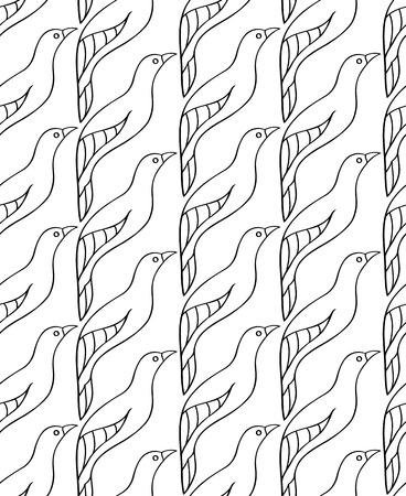 조류와 흑백 패턴입니다. 원활한 장식입니다. 벽지, 섬유, 카펫 및 모든 서피스에 대 한 양식에 일치시키는 템플릿.