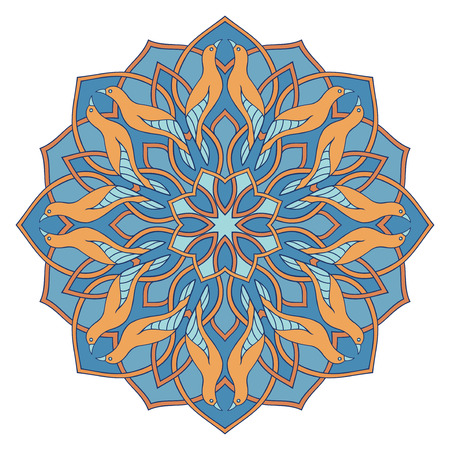Blue mandala with yellow birds. Oriental ornament. Design element.