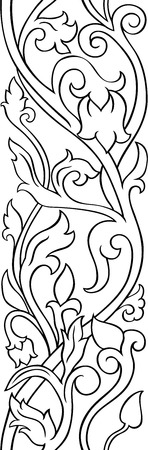 Black and white floral pattern. Filigree ornament. Stylized template for wallpaper, textile, shawl, carpet.