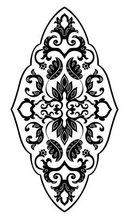 디자인에 대 한 꽃 메달입니다. 카펫, 벽지, 섬유 및 표면에 대 한 서식 파일입니다. 흰색 배경에 벡터 검은 장식.