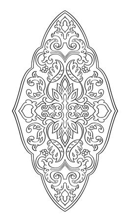 디자인에 대 한 꽃 메달입니다. 카펫, 벽지, 섬유 및 표면에 대 한 서식 파일입니다. 흰색 배경에 검은 장식의 벡터 패턴입니다.