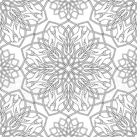 Abstract pattern with birds. Vector black and white background with mandalas. Template for textile, carpet, shawl.