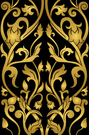 Gold floral pattern. Filigree ornament on a black background. Elegant template for wallpaper, textile, shawl, carpet.