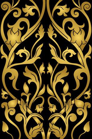 Motif floral or. Ornement en filigrane sur un fond noir. Modèle élégant pour papier peint, textile, châle, tapis.