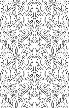 Black and white floral pattern. Filigree seamless ornament. Stylized template for wallpaper, textile, shawl, carpet.