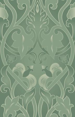 装飾用の花のパターン。緑の色の繊細な飾り。壁紙、テキスタイル、ショール、カーペット、任意の表面のテンプレートです。  イラスト・ベクター素材