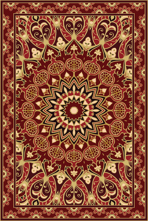 Colorful template for carpet, textile. Oriental floral pattern with pomegranate. Vettoriali