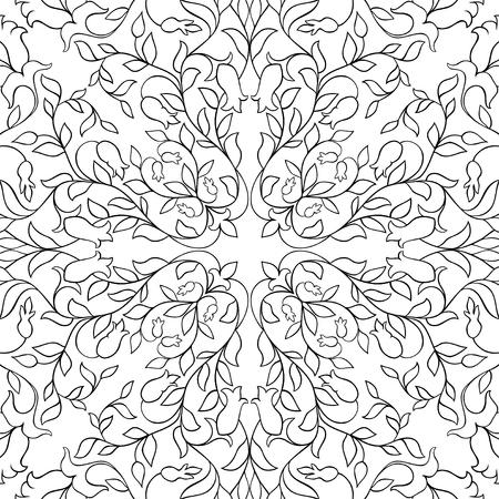 花のベクターパターン、フィリグリーの装飾。壁紙、テキスタイル、ショール、カーペットのための黒と白のテンプレート。  イラスト・ベクター素材