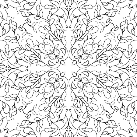 Floral vector pattern, filigree ornament. Black and white template for wallpaper, textile, shawl, carpet.