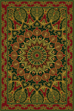Colorful template for carpet, textile. Oriental floral pattern with pomegranate. Stock Illustratie