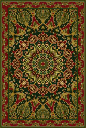 Kolorowy szablon do dywanów, tekstyliów. Orientalny kwiatowy wzór z granatem.