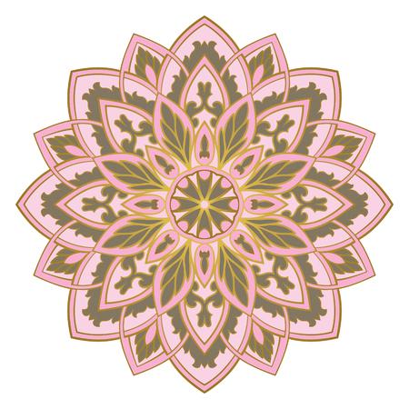 Vector abstract mandala. Design element. Pink elegant ornament.