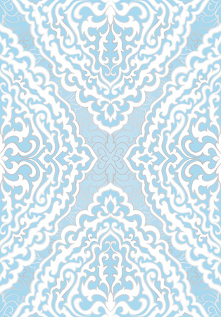 Abstract pattern with damask. Seamless filigree ornament. Blue template for wallpaper, textile, shawl, carpet.