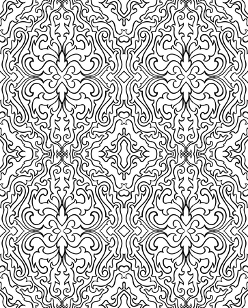 Abstract pattern with damask. Seamless filigree ornament. Black and white template for wallpaper, textile, shawl, carpet.