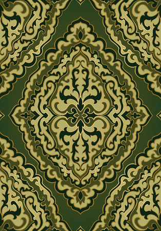 Abstract pattern with damask. Seamless filigree ornament. Green template for wallpaper, textile, shawl, carpet.