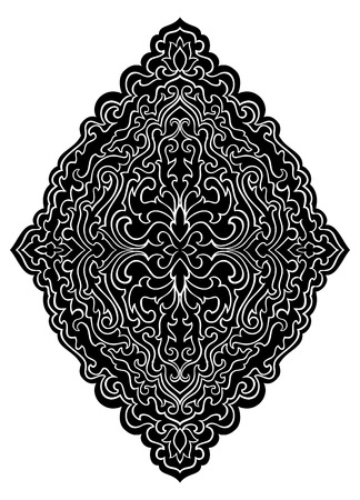 Abstract medallion for design. Template for carpet, wallpaper, textile and any surface. Vector black pattern on a white background. 일러스트