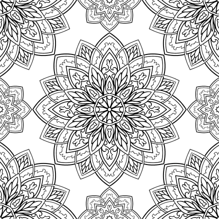 Seamless vector background. The pattern with mandalas. Oriental black and white ornament. Template for carpet, textile. Ilustracja