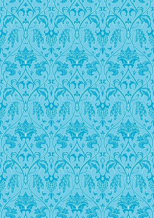 Blue floral pattern. Seamless filigree ornament. Stylized template for wallpaper, textile, shawl, carpet and any surface. Pattern with flowers and hummingbird.