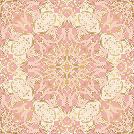 Vector pink background with mandalas
