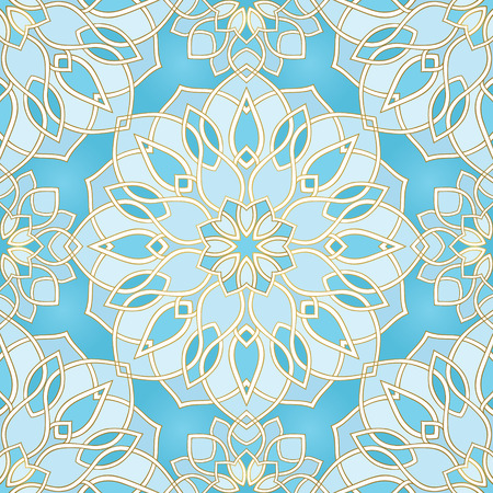 Abstract pattern with mandala. Seamless filigree ornament. Blue template for wallpaper, textile, shawl, carpet.  Ilustrace