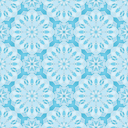 Abstract pattern with mandala. Seamless filigree ornament. Blue template for wallpaper, textile, shawl, carpet.  Illustration