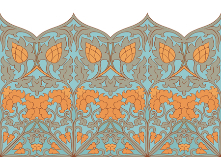 Abstract floral pattern. Vector vintage border. Template for textile, carpet, frame, shawl.