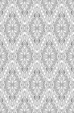 ダマスクと抽象的なパターン。シームレスなフィリグリーの装飾。壁紙、織物、ショール、カーペットのための黒と白のテンプレート。