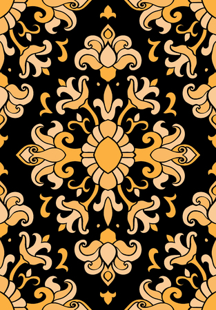 Pattern with damask. Yellow and black filigree ornament. Elegant template for wallpaper, textile, shawl, carpet.