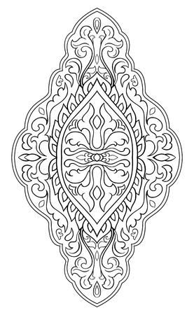 Black and white medallion for design. Template for carpet, wallpaper, textile. Vector pattern on a white background.