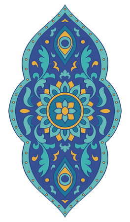 Abstract medallion for design. Template for carpet, wallpaper, textile and any surface. Blue pattern on a white background. Vettoriali